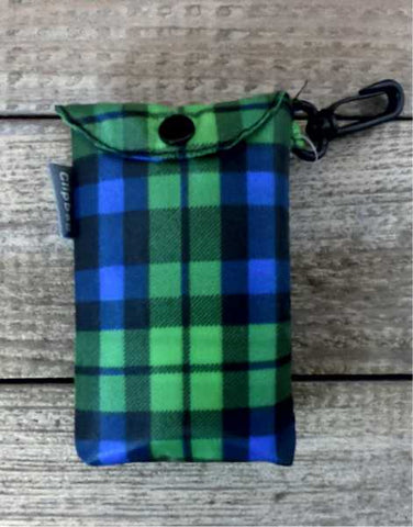 Green Tartan Fold Up Shopping Bag