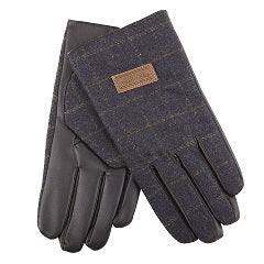 Heritage Traditions Men's Blue Herringbone Tweed Gloves