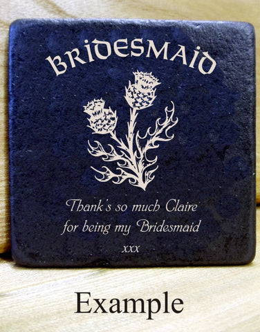 Personalised  Message Coaster BRIDESMAID