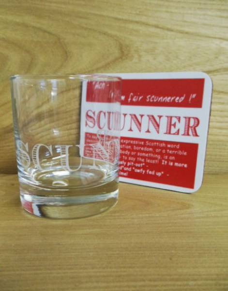 Coaster & Dram Glass Scottish Dialect Word (Scunner)