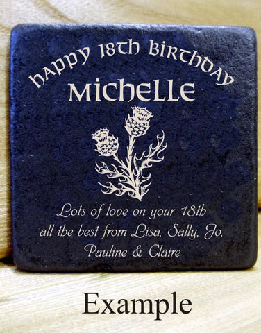 Personalised Message Coaster BIRTHDAY (thistle)