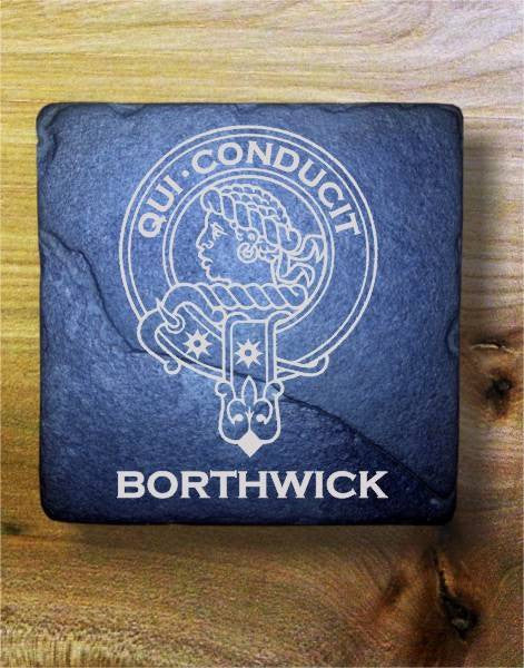 BORTHWICK - Scottish Clan Crest Stone Coaster