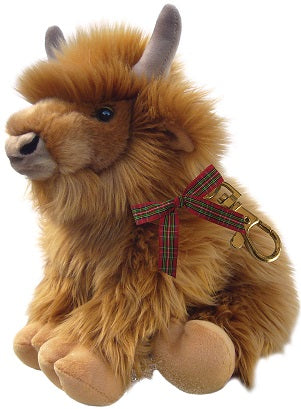 "5.5"" Rabbie Highland Cow Sitting with Keyring"