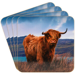 Highland Cow Coasters - Set of 4