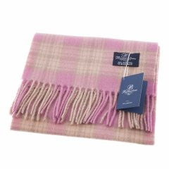 Ballantrae Lambswool Scarf - Pink/Cream/Brown Check