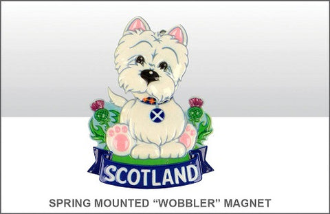 "Spring Mounted ""Wobbler"" Westie Fridge Magnet"