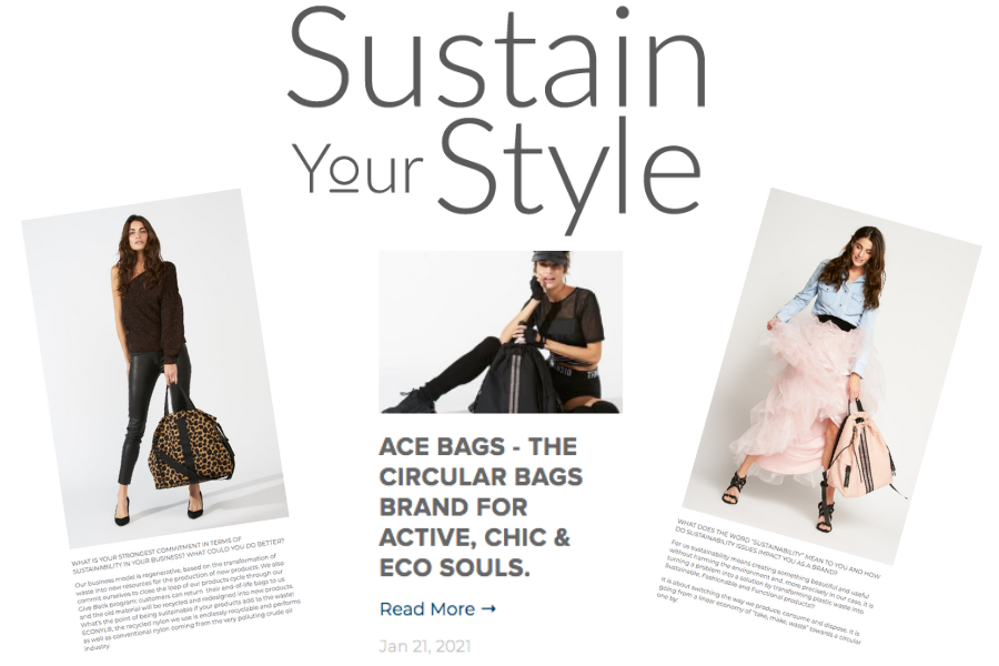 ACE sustainable  and multi functional bags in Sustain Your Style