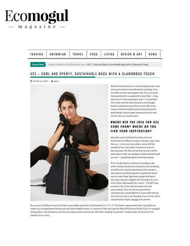 ACE sustainable bags interview with Ecomogul Magazine