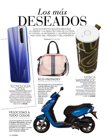The ACE bag in Interiores magazine Spain recycled totes and backpacks