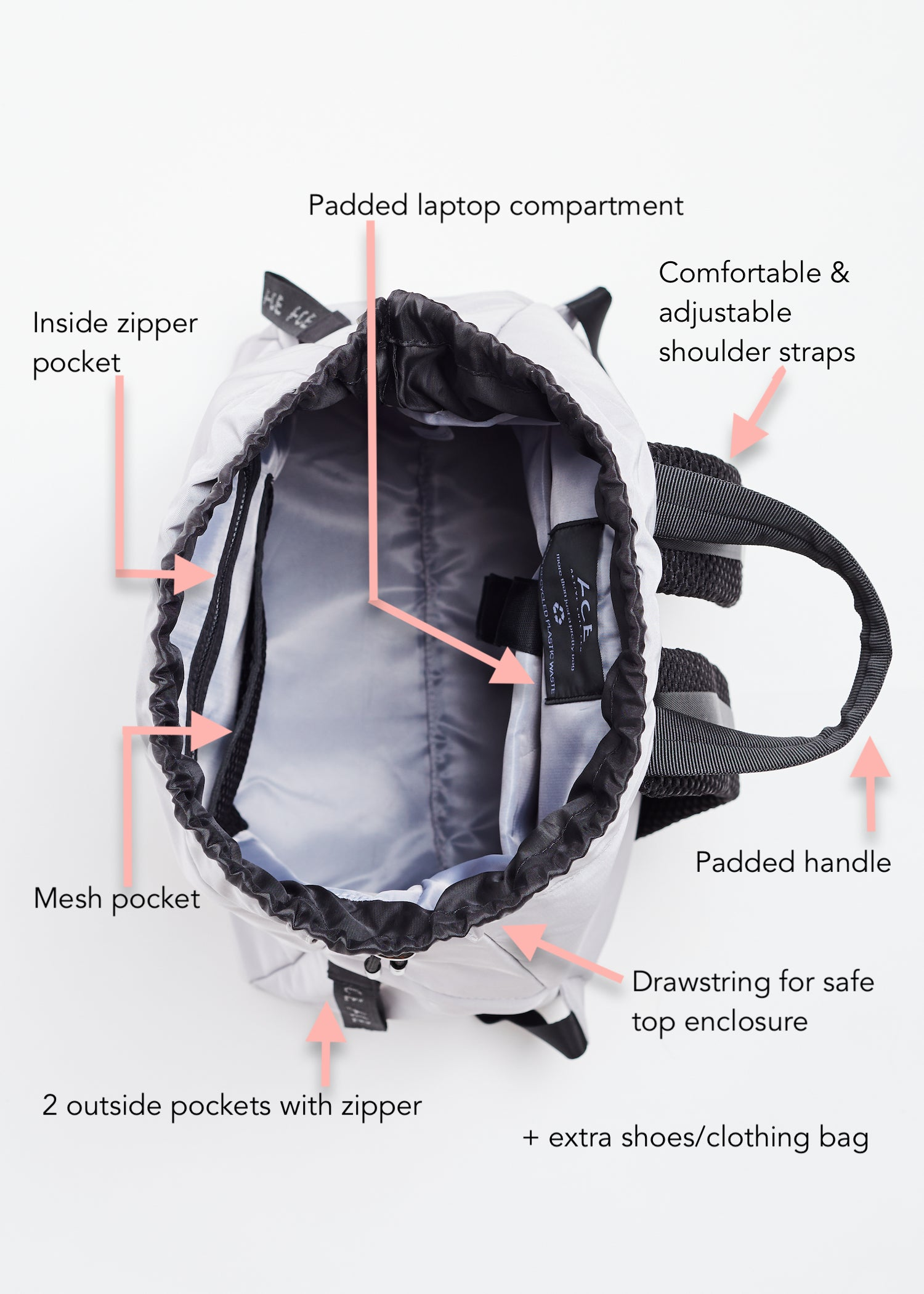 Black sustainable Econyl Backpack