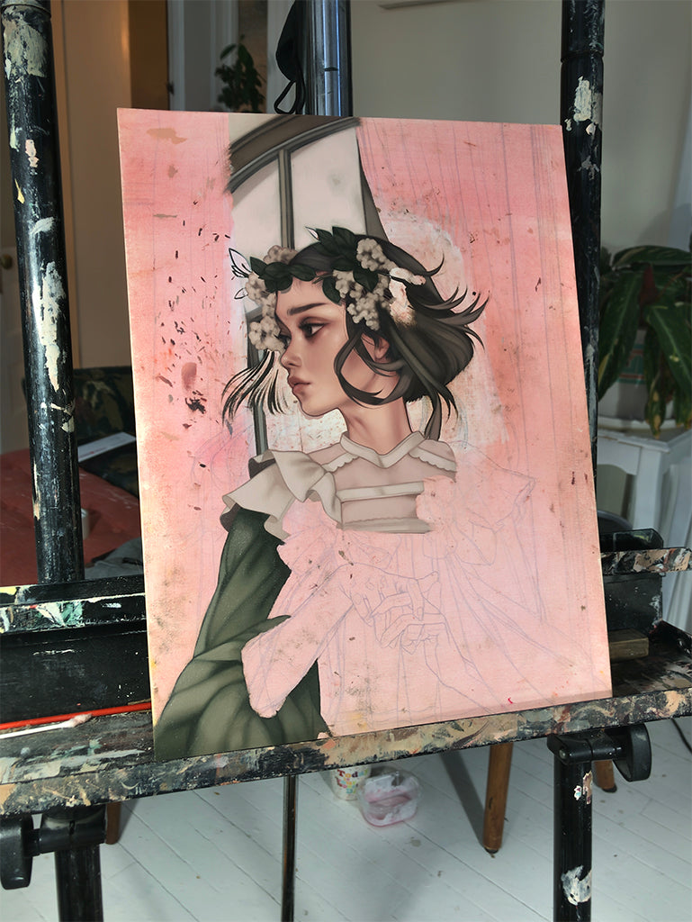 Kelsey Beckett In Studio preparing for Anemoia solo show