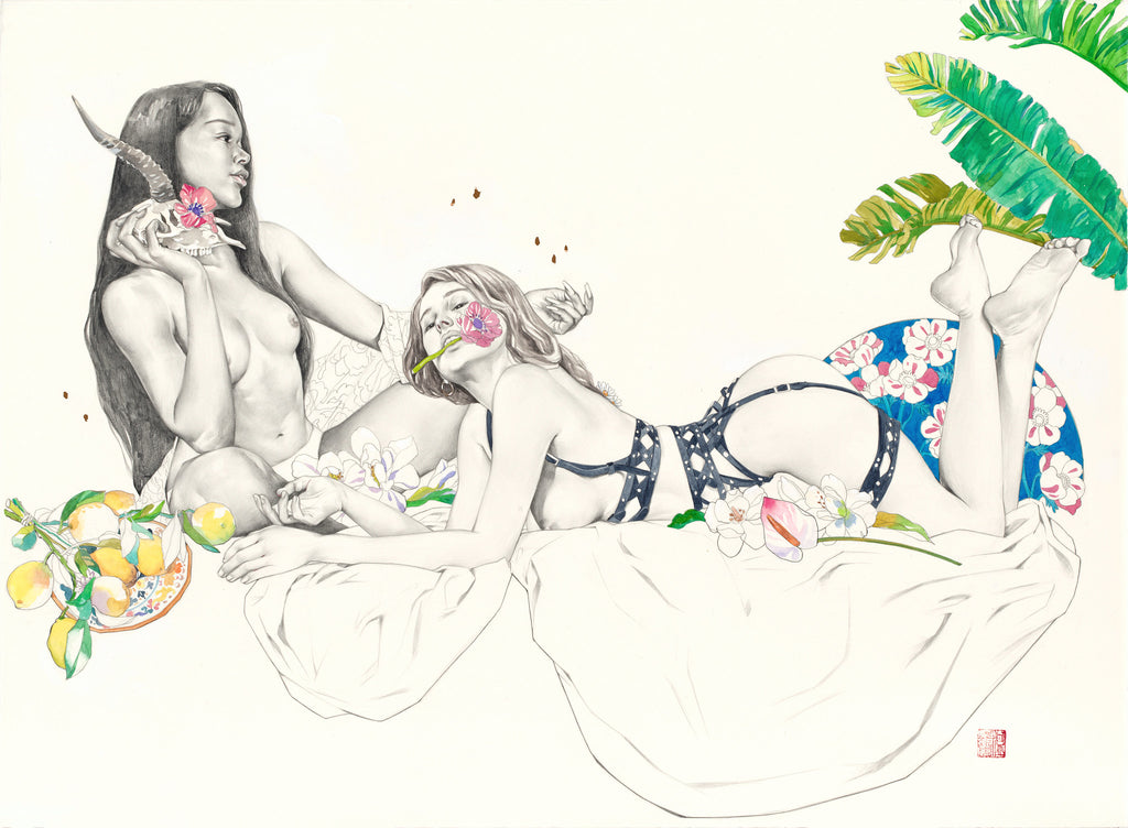 Illustration of 2 girls laying down with flowers around them by Helice Wen
