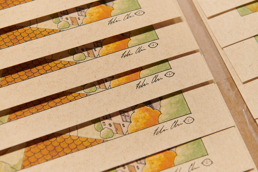 Felicia Chiao signature close up on The Sunny Day prints for Spoke Art Gallery