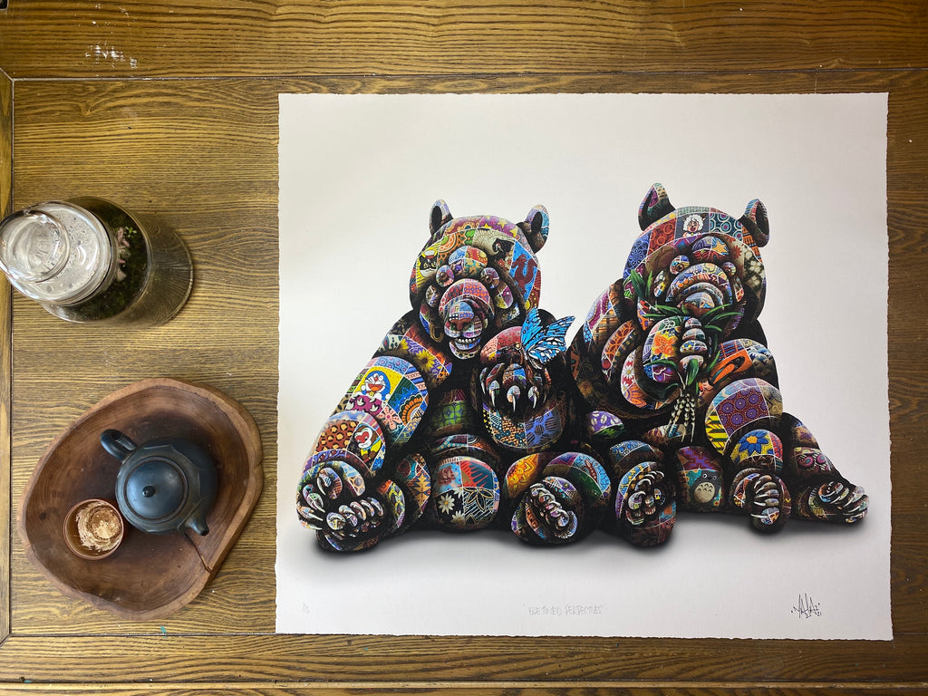 """Louis Masai """"Blue Tinted Perspectives"""" hand embellished art print"""