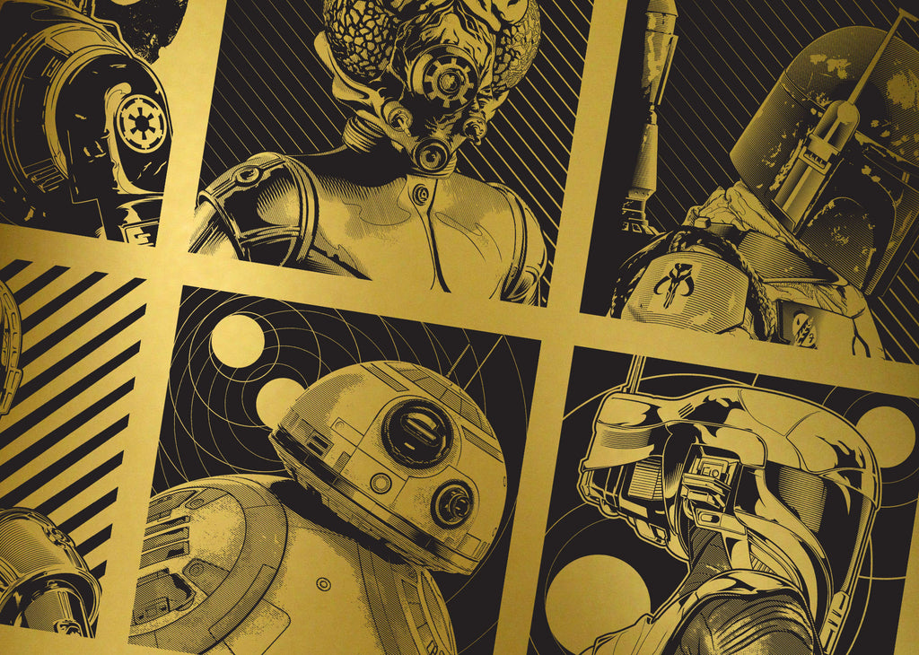 Illustrations of various star wars charachters