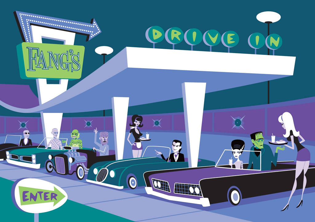 "Shag - ""The Universal Monsters Drive-In"" - Spoke Art"