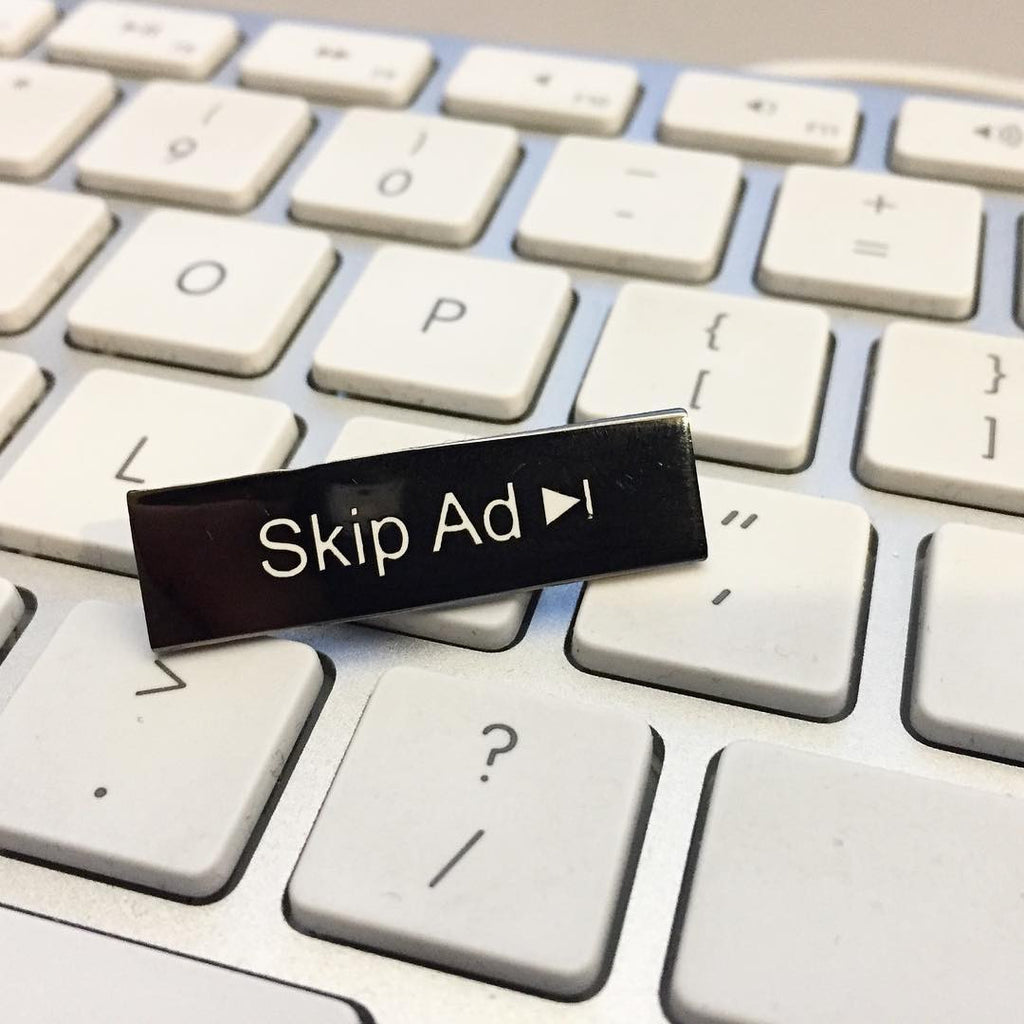 Skip Ad Enamel Pin - Spoke Art