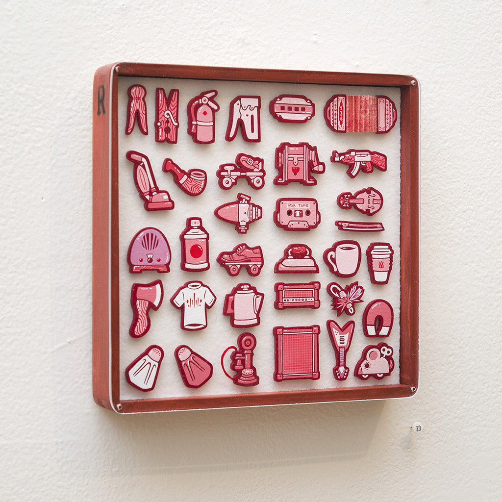 """Tiny Objects"" (Red) - Spoke Art"