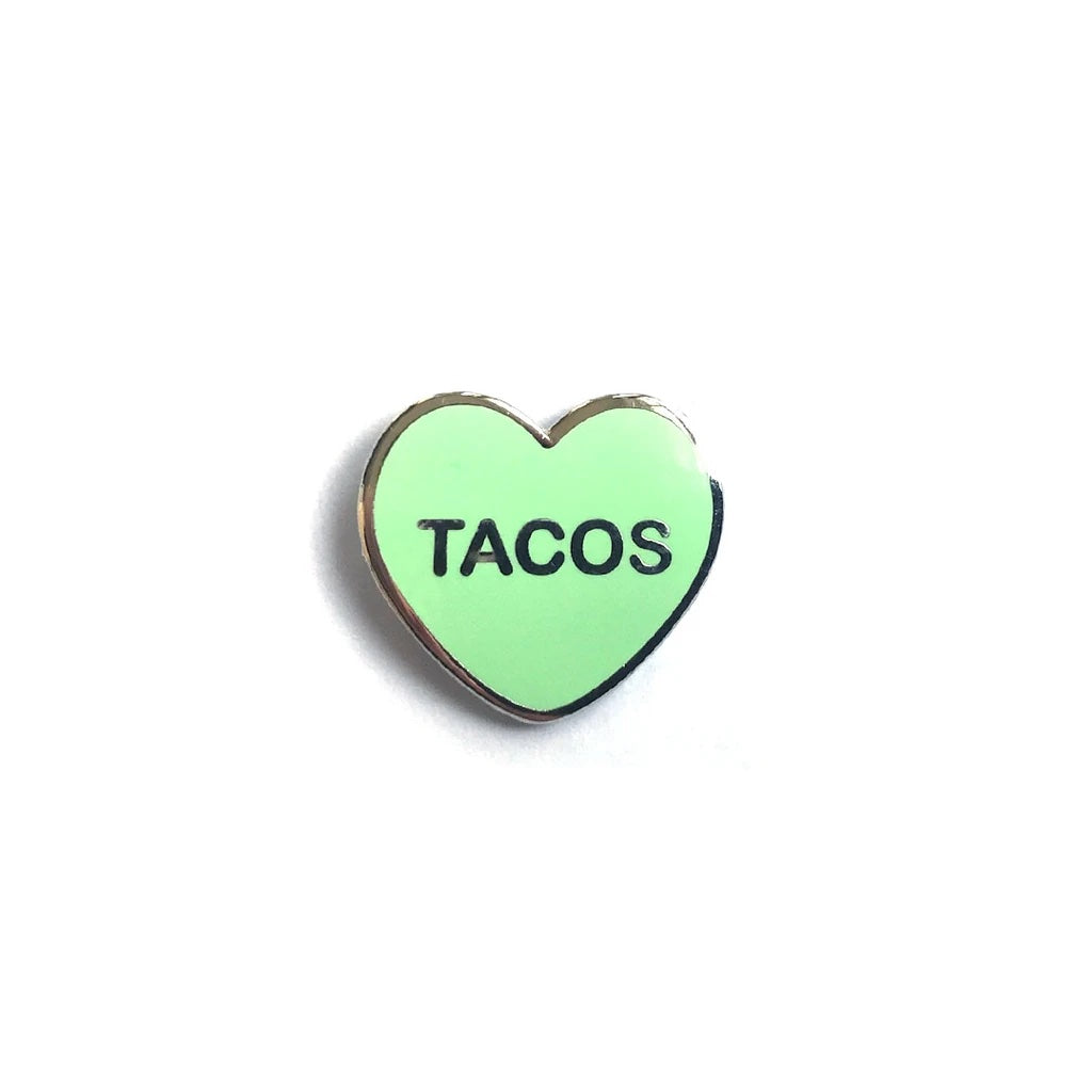 Tacos Candy Heart Enamel Pin - Spoke Art