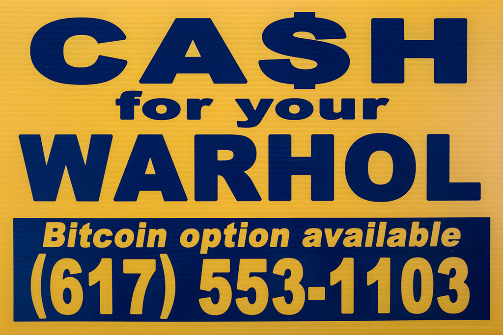 "Cash For Your Warhol - ""CFYW Bitcoin (yellow)"" - Spoke Art"