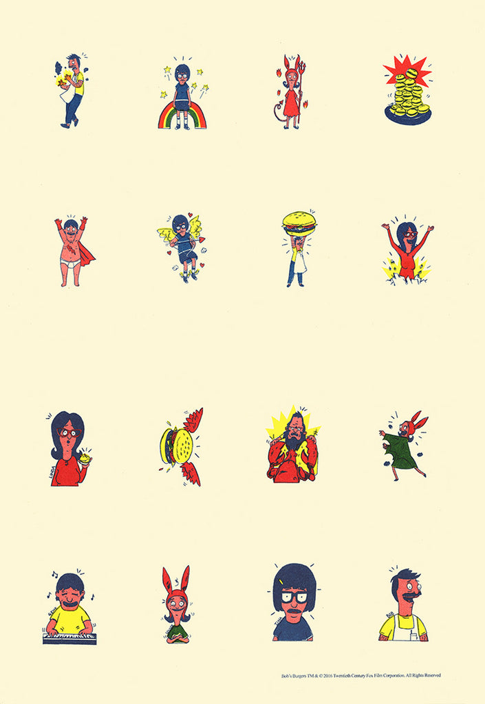 "Chris Walker - ""Bob's Burgers Tattoo Artwork Colour Proof Sheet"""