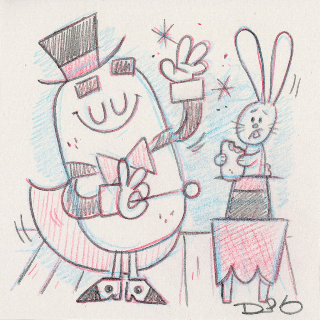 "Dave Perillo - ""Fruit Pie The Magician Original Sketch & Print"""