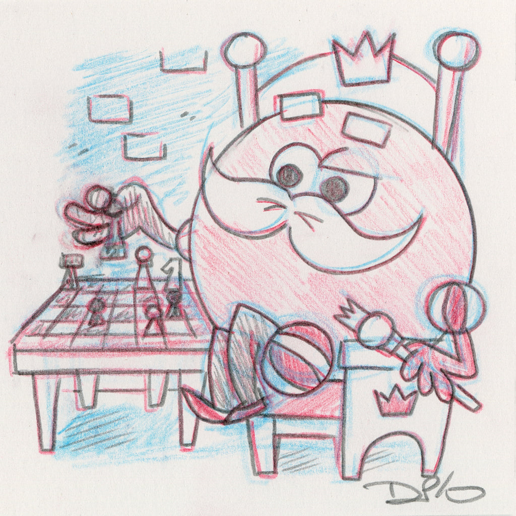 "Dave Perillo - ""King Ding Dong Original Sketch & Print"""