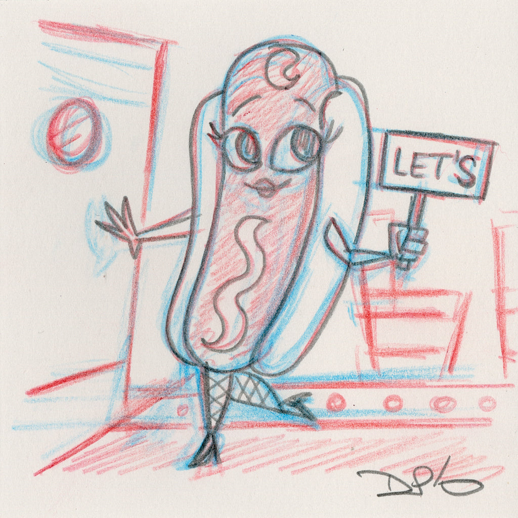 "Dave Perillo - ""Hot Dog Original Sketch & Print"""