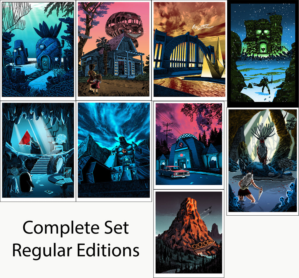 "Tim Doyle - ""UnReal Estate: Secret Headquarters"" Complete Set of Regular Edition Prints - Spoke Art"