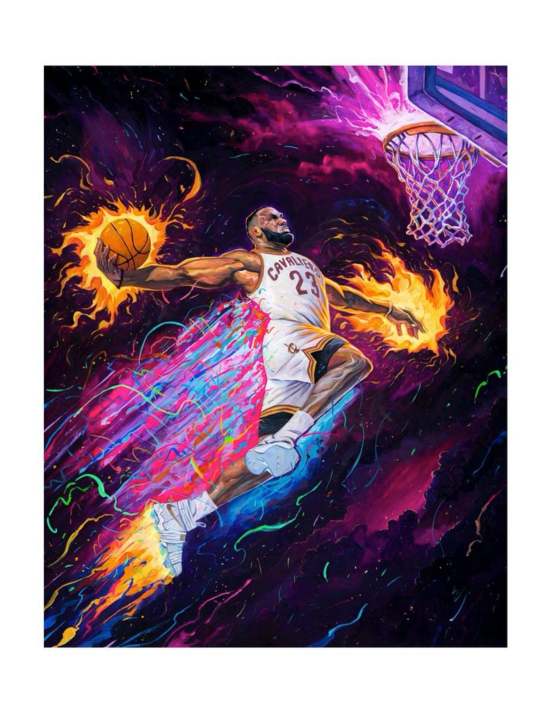 "Rich Pellegrino - ""King of the Court"" (Portrait Remarque Edition - Lakers/Heat/Cavs) - Spoke Art"