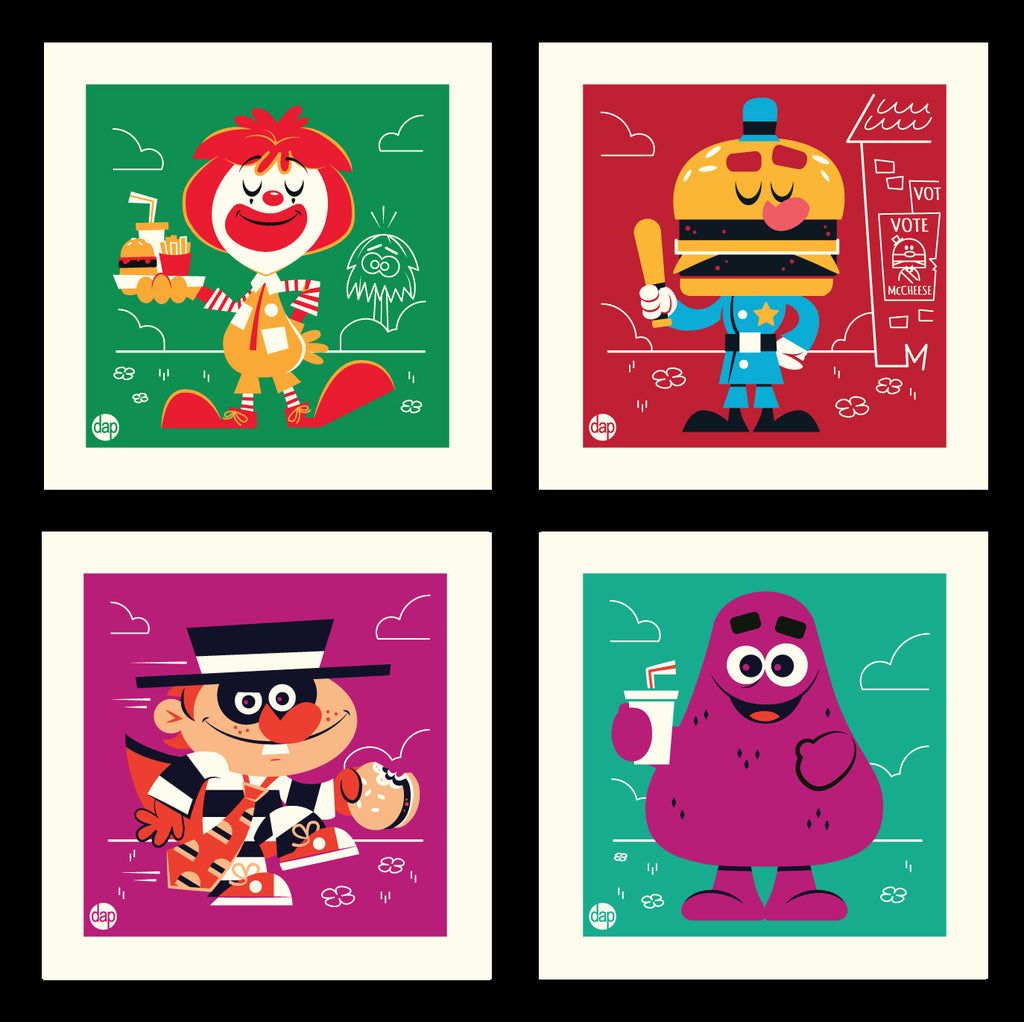 "Dave Perillo - ""Burger Clown Town"" Print Set"