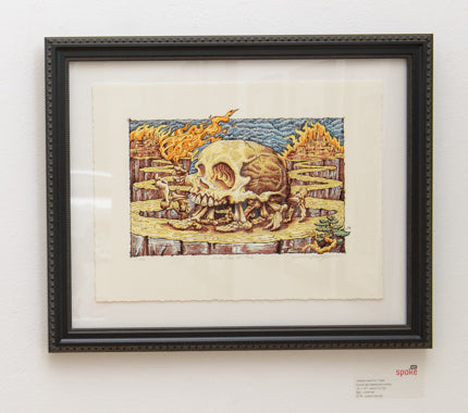 "A.J. Masthay - ""Neither Here Nor There"" (linocut) print - Spoke Art"
