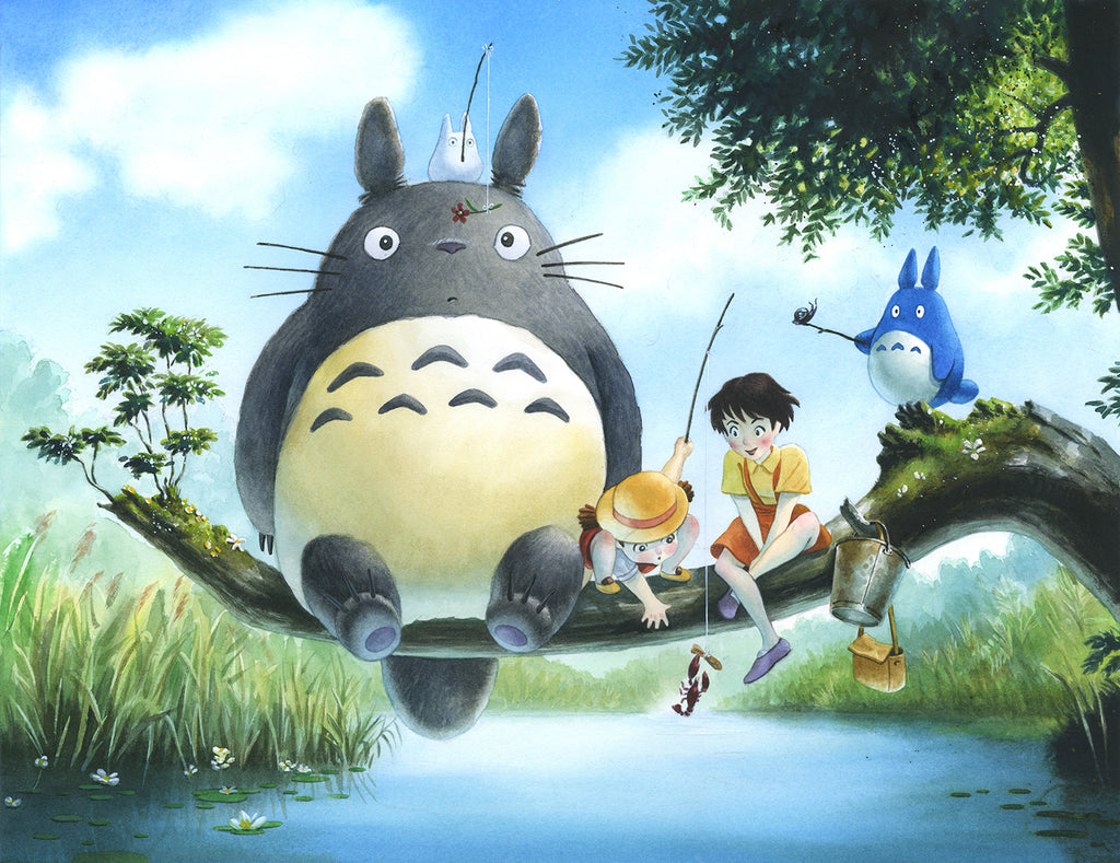 "Reuben Negron - ""Totoro Fishing (after Studio Ghibli)"" (print)"