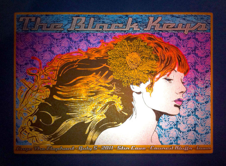 Chuck Sperry - The Black Keys, Cage The Elephant, Council Bluffs, Iowa (Blue Linen Variant)