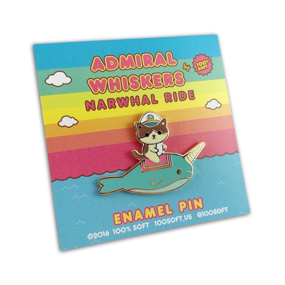 """Admiral Whiskers Narwhal Ride"" Enamel Pin"
