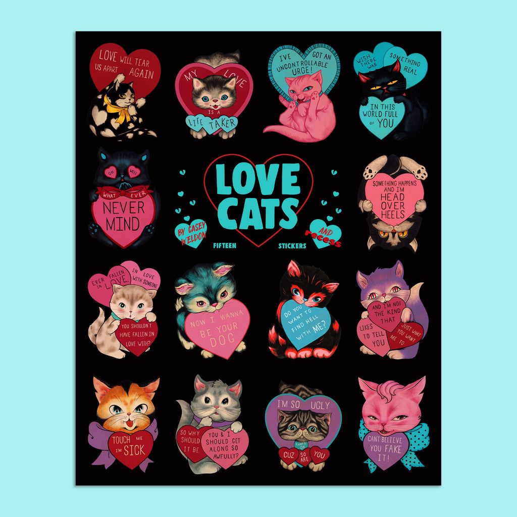 Casey Weldon Love Cats Blue Sticker sheet