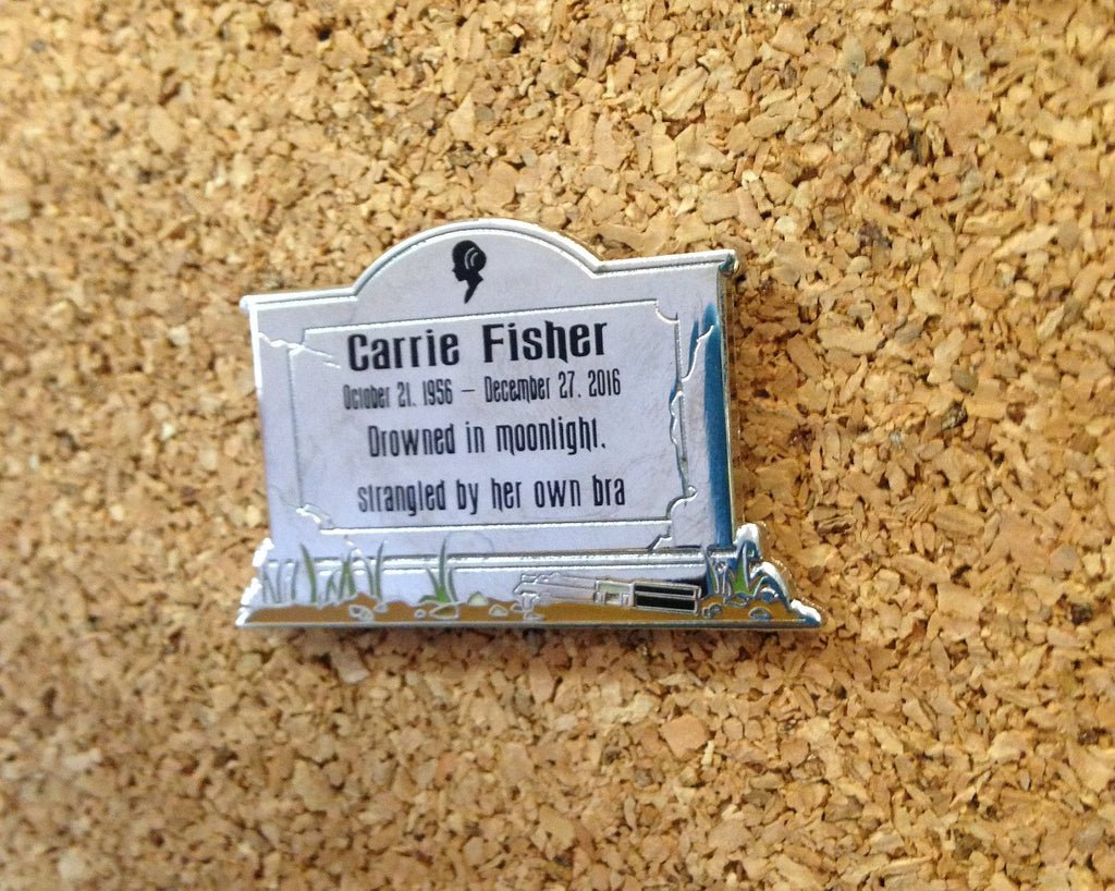 Carrie Fisher Headstone Enamel Pin