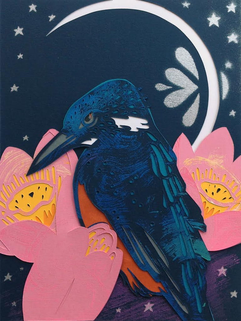 "Kevin Stanton - ""Blue Banded Kingfisher and Lotus"""