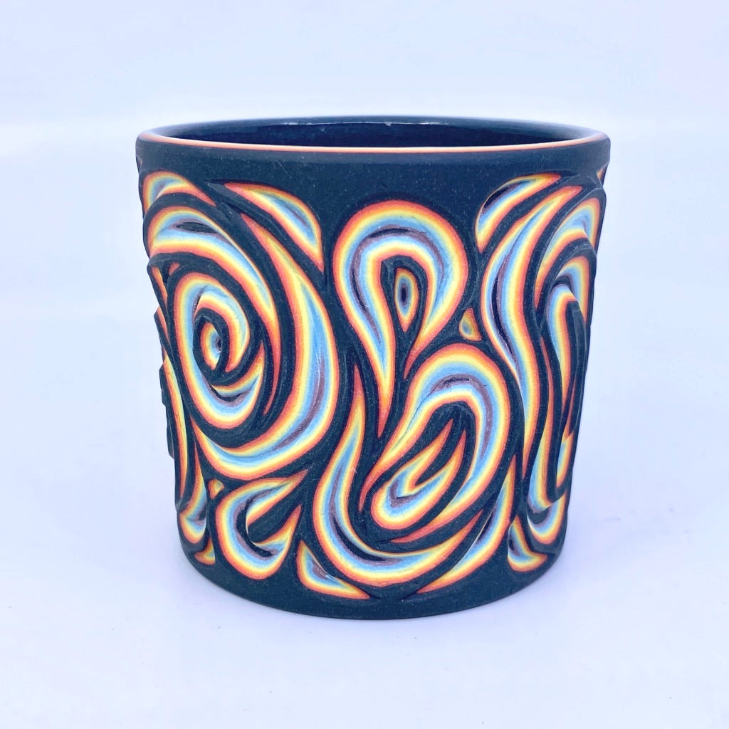 Black Rainbow 8 Layer Swirl Intricate Carved Tumbler