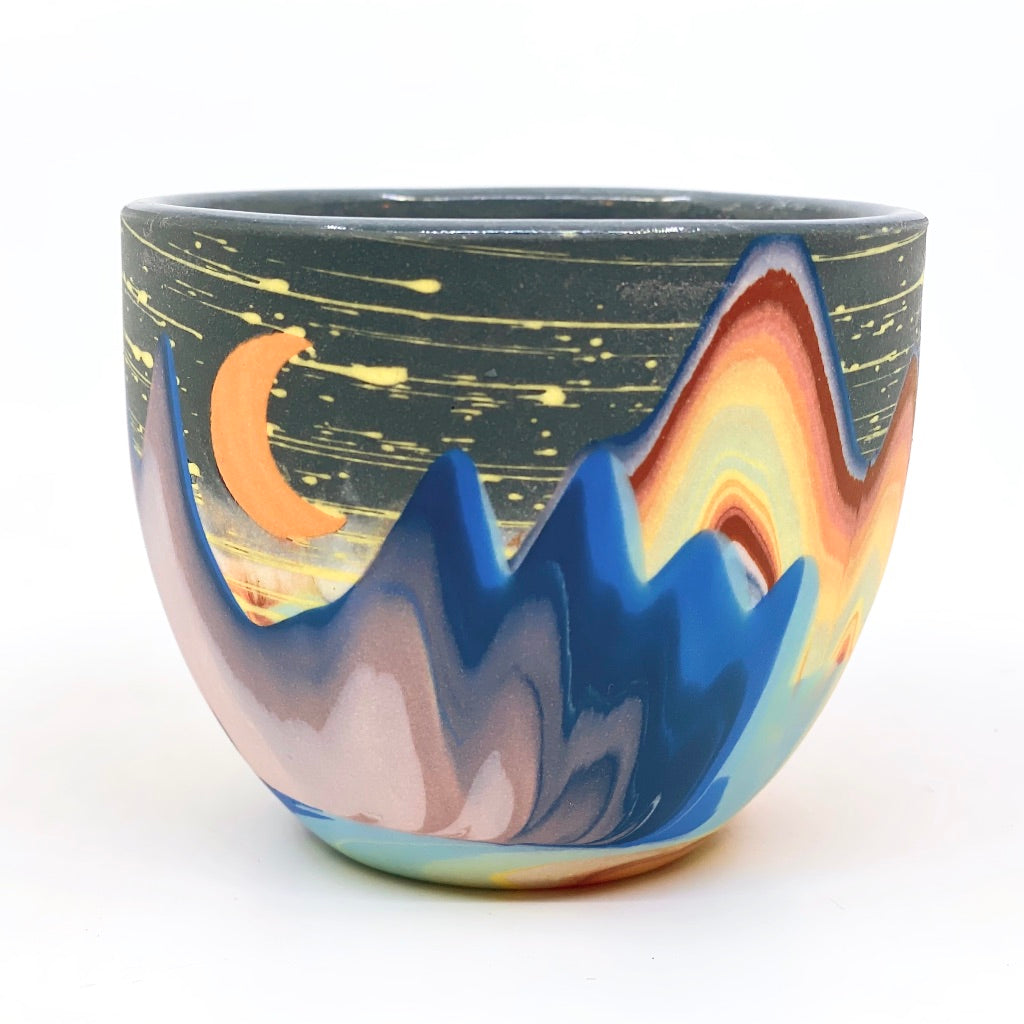 **Preorder Variable Design**  Rainbow Night Cliffs With Crescent Moon, Teacups or Tumbler options (Estimated Shipping July-August)
