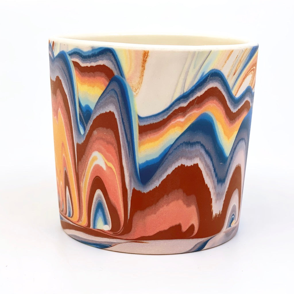 Tumbler #1 Rainbow Marbled One-Off - White interior
