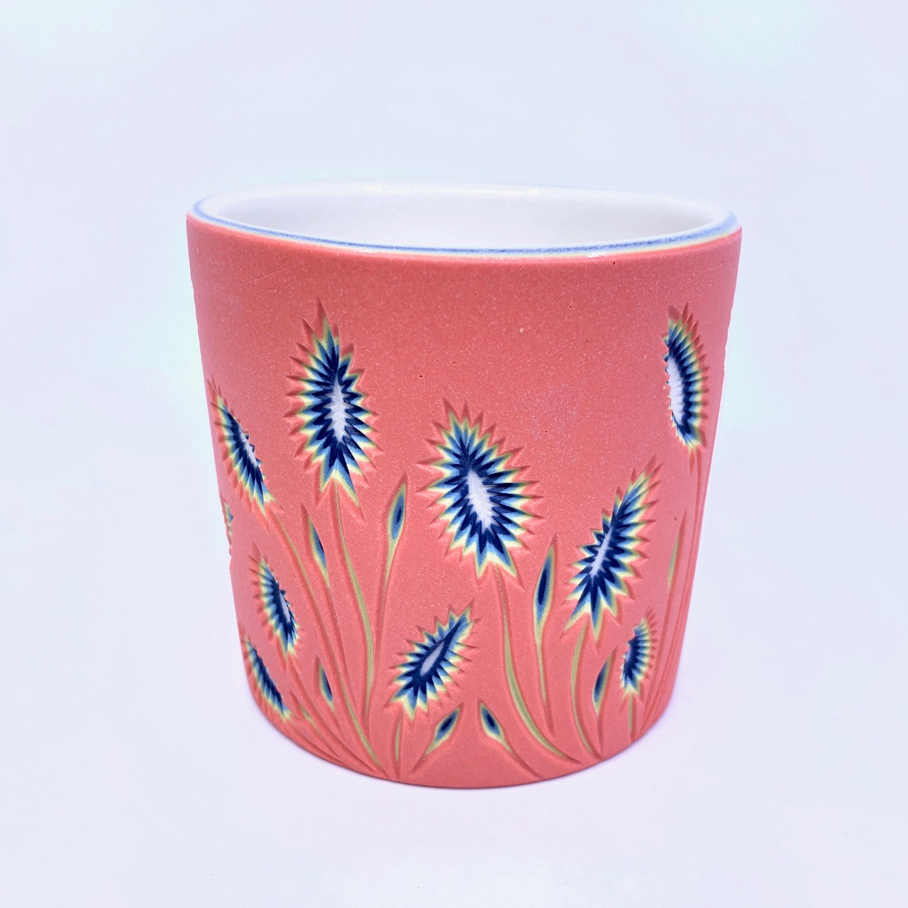 Botanical Coral to White Carved 5 Layer Tumbler