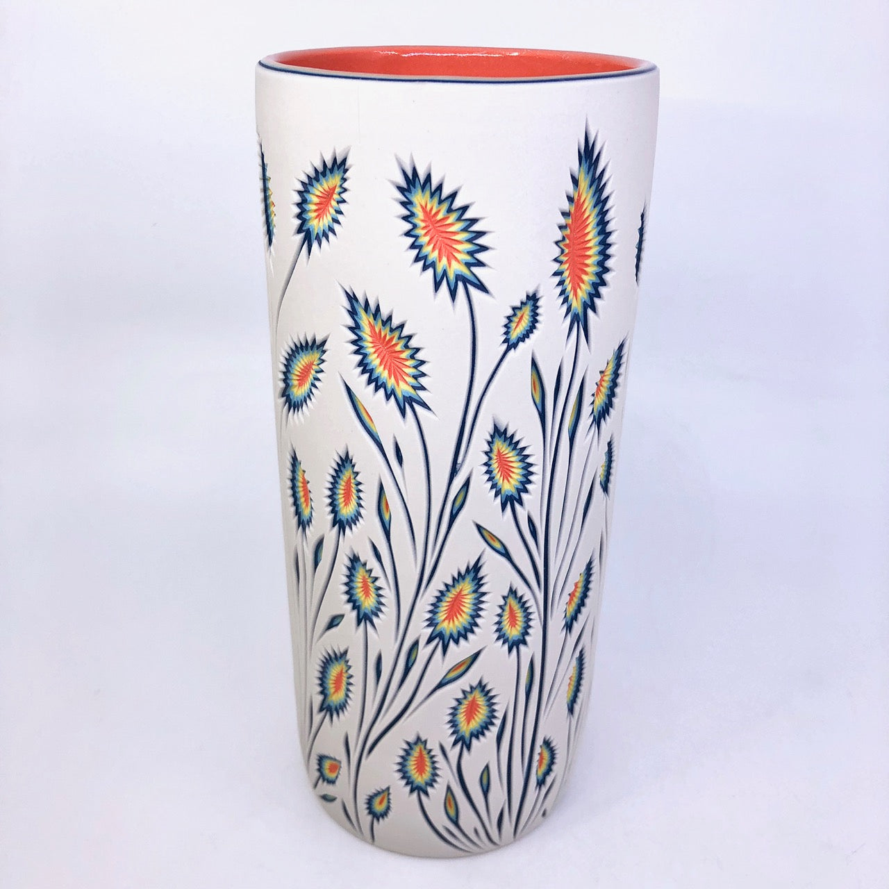 Large Column Vase- Botanical 5 Layer Carved