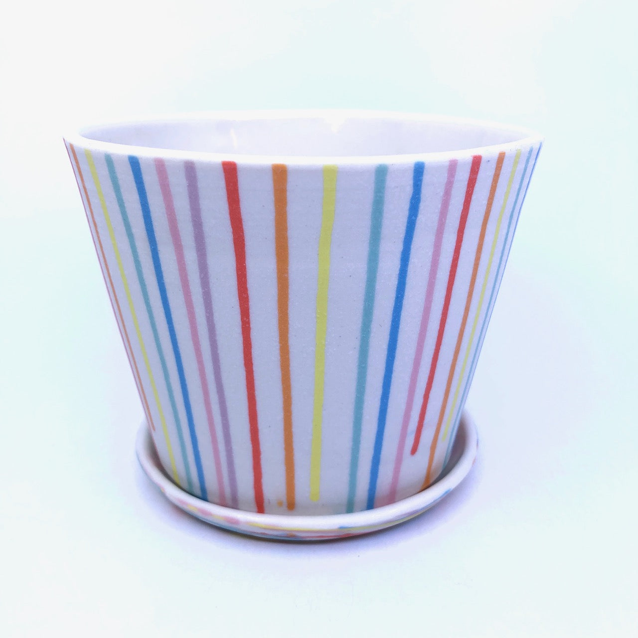 Rainbow Drip Small White Planter