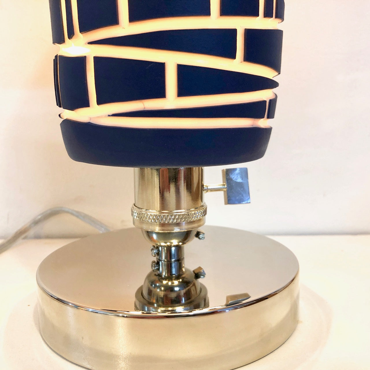Table Lamp- Hand-carved Porcelain Shade and Metal Base (Ships in 2 weeks)