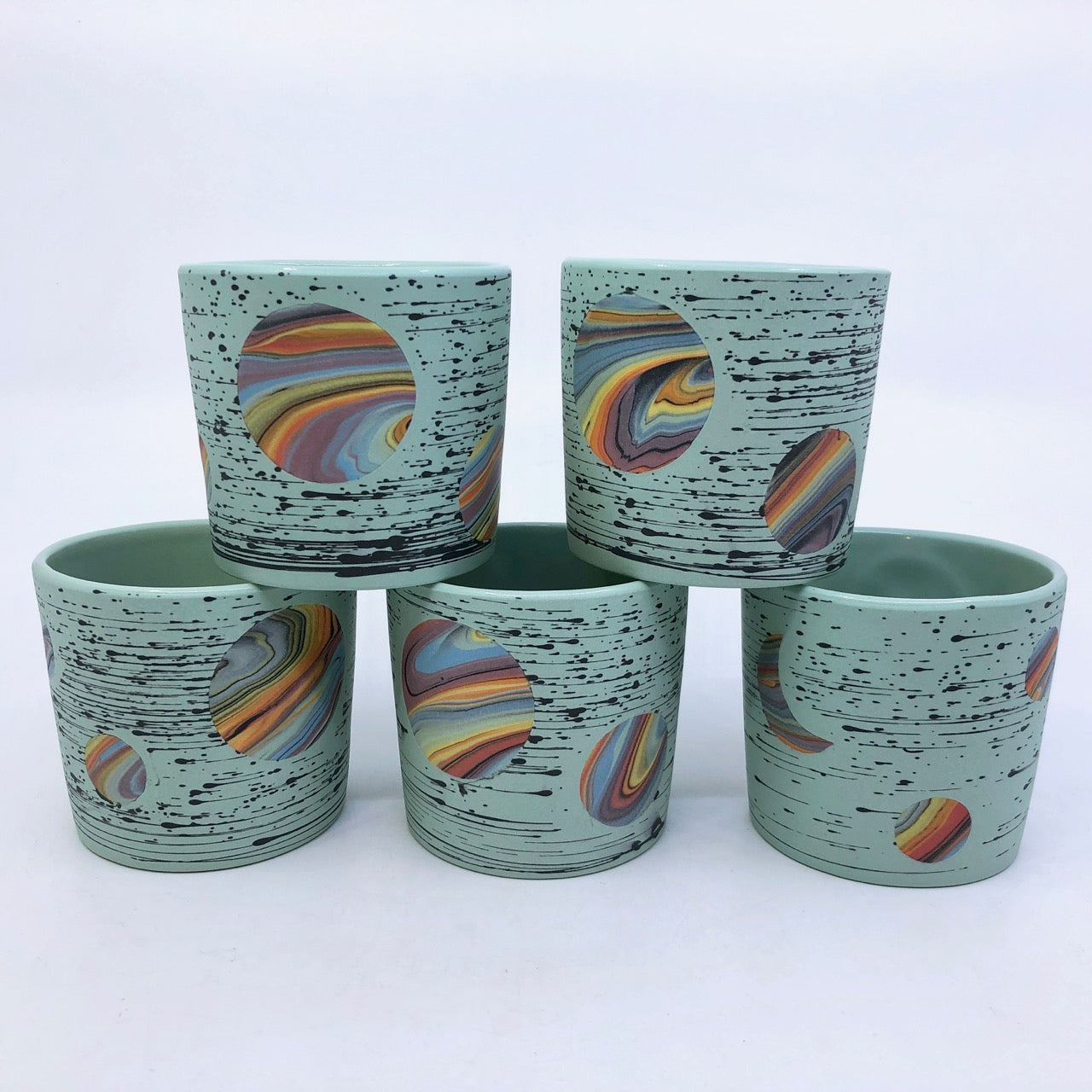 Mint Green Bright-Space Rainbow Galaxy Tumblers **EARTH DAY EXCLUSIVE** (50% to Charity)