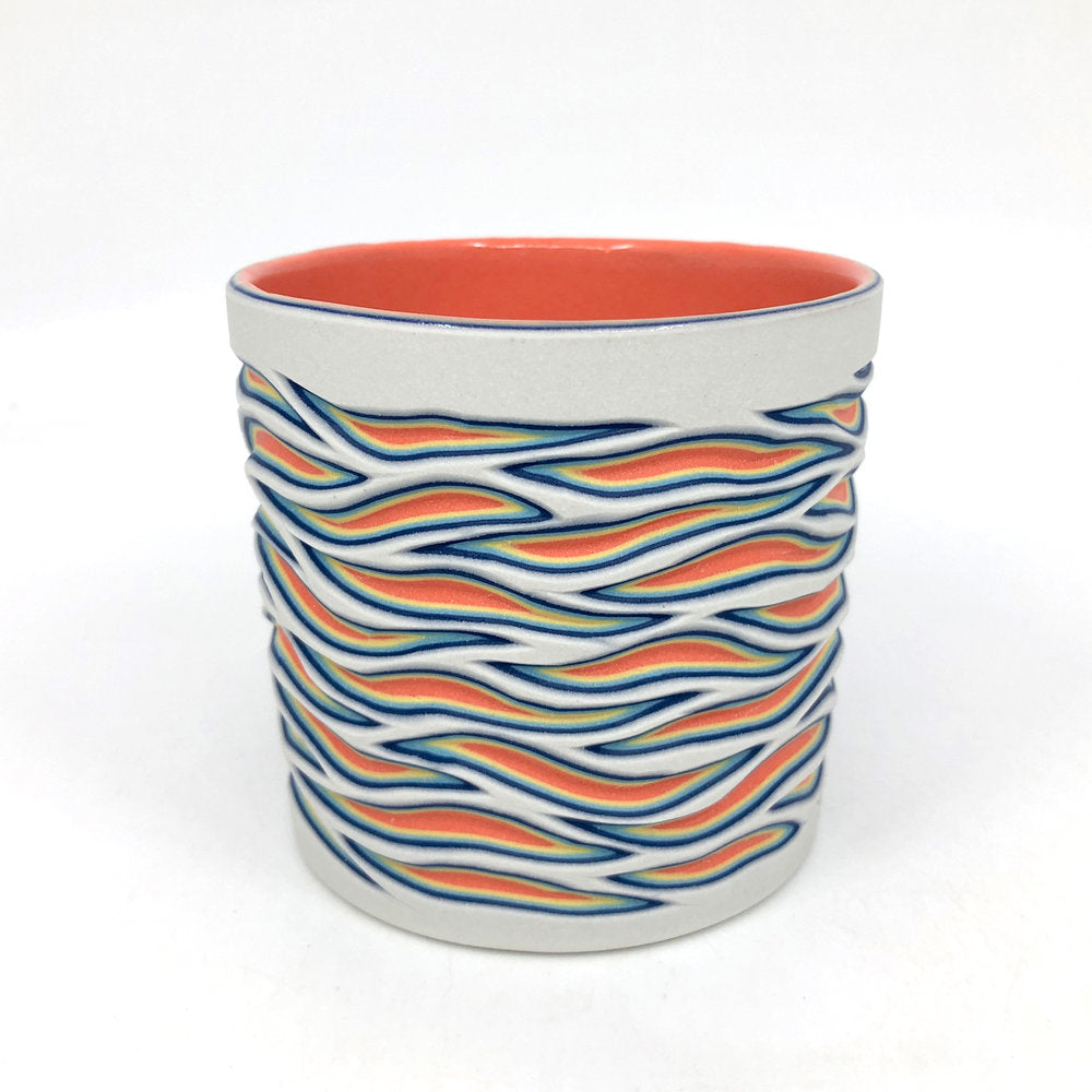 White to Coral Flow 5-Layer Carved Tumbler