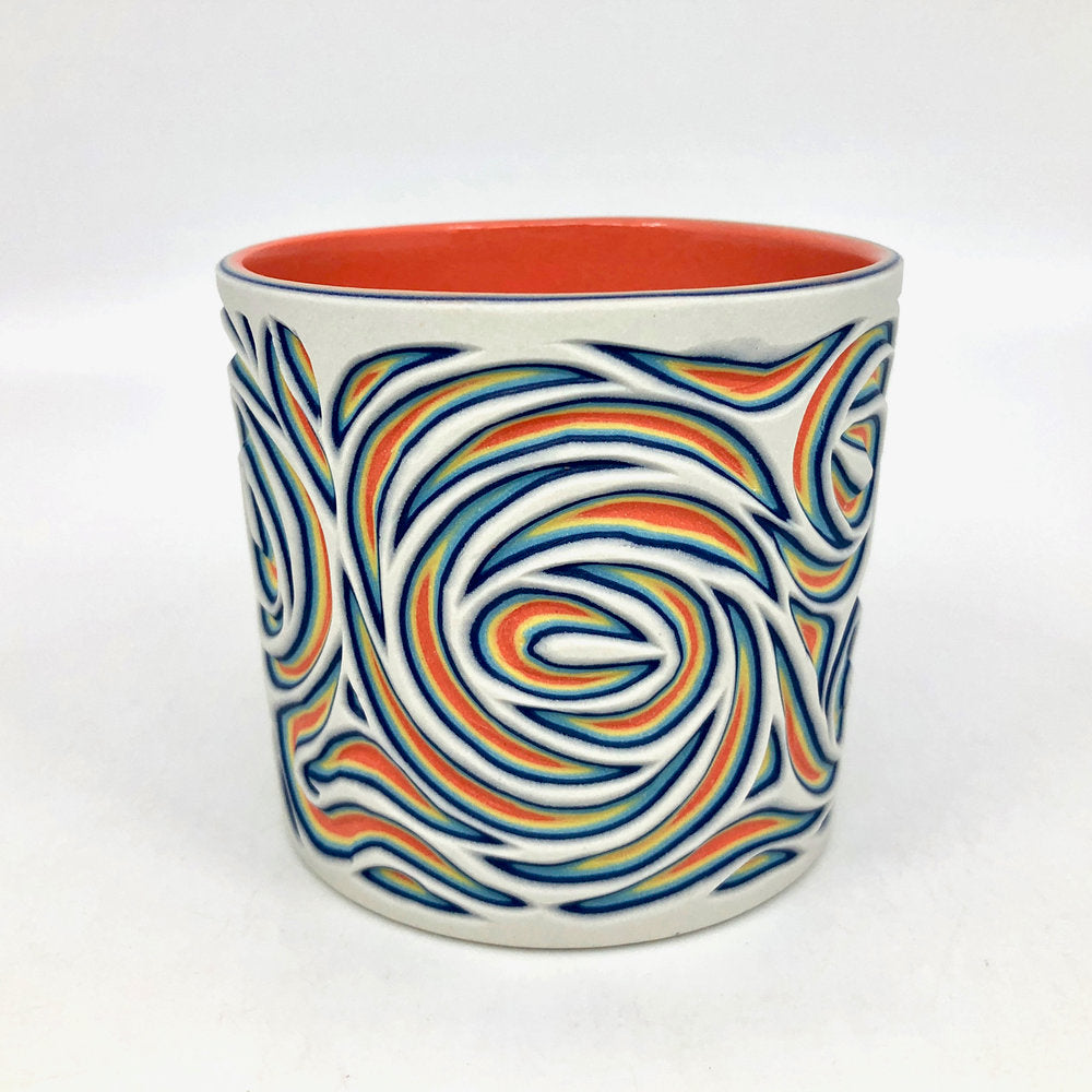 White to Coral Swirl 5-Layer Tumbler