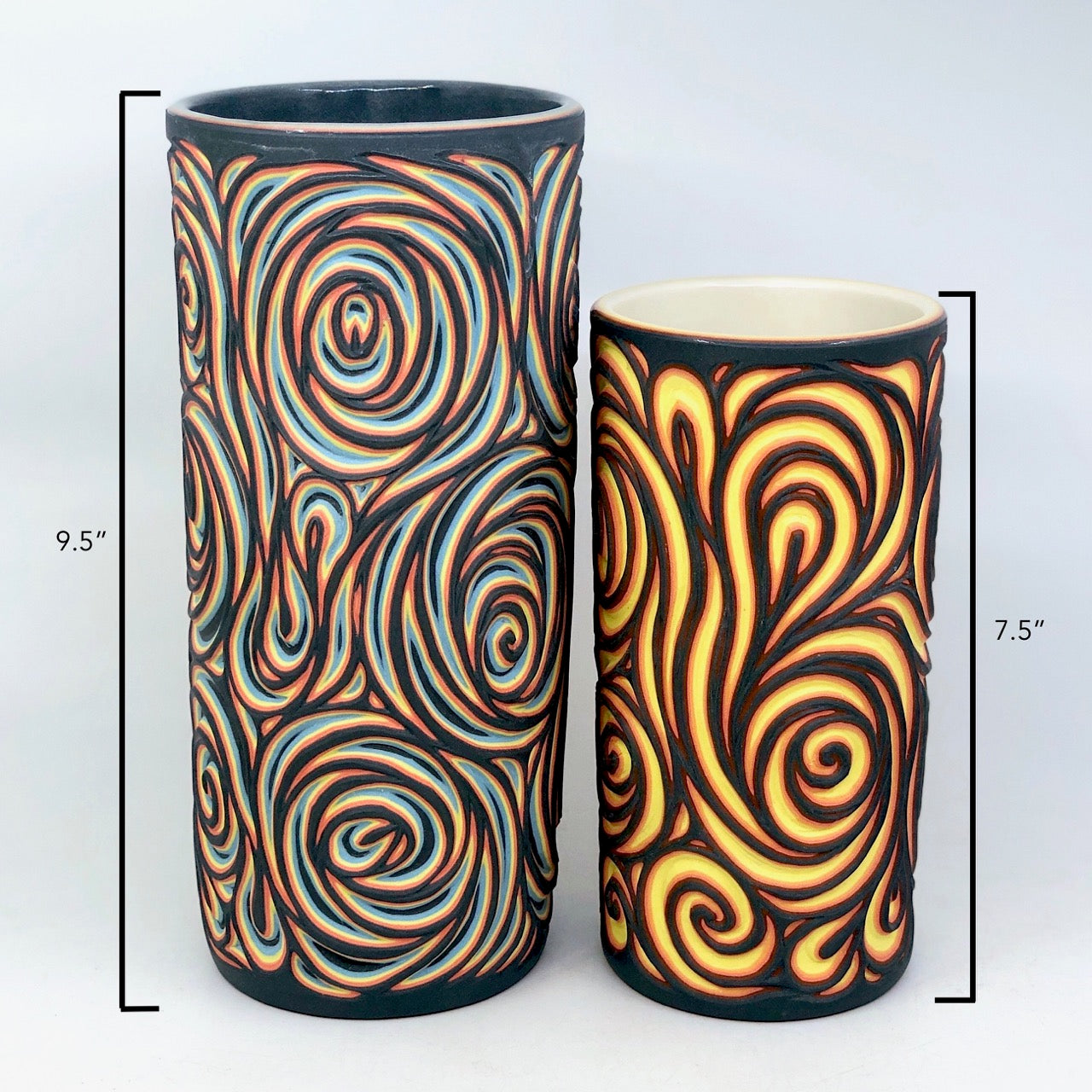 "Large (9.5"") Black & Neon Swirl 5 Layer Column Vase"
