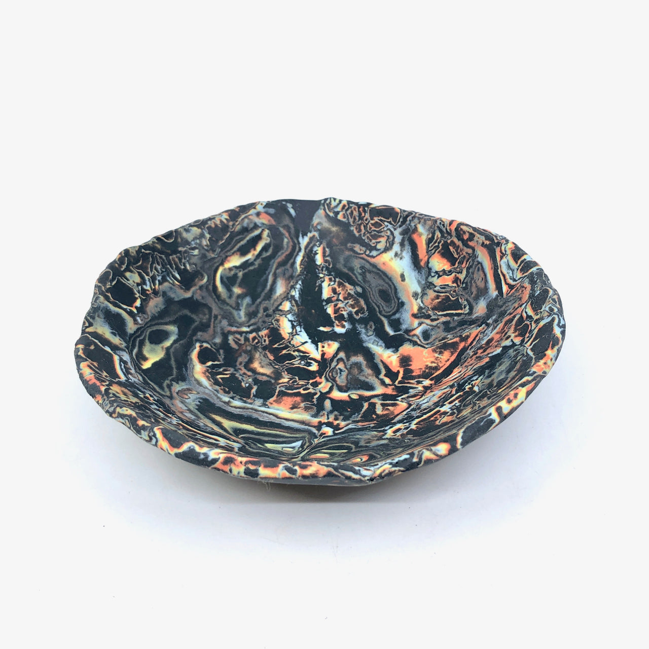 Small Black & Neon Squiggle Marbled Display Bowl